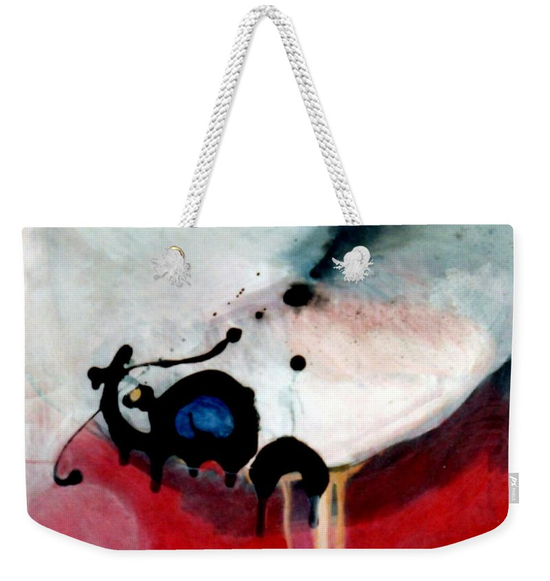 Primary Colors Weekender Tote Bag featuring the painting blobs Leap frog by Marlene Burns