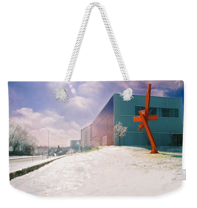 Landscape Weekender Tote Bag featuring the photograph Bloch Building At The Nelson Atkins Museum by Steve Karol