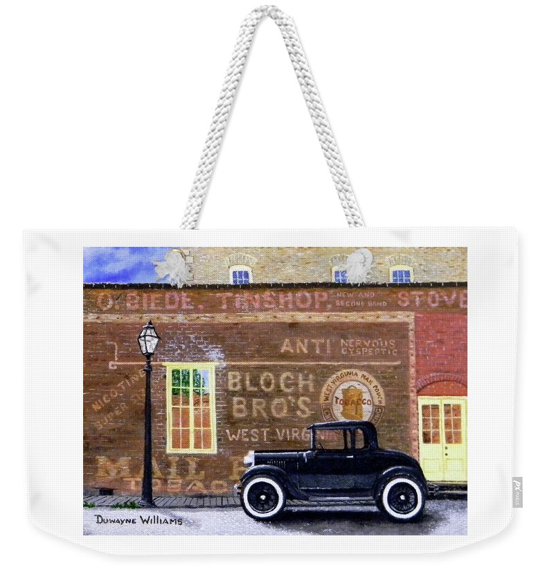 Model A Weekender Tote Bag featuring the painting Bloch's Wall by Duwayne Williams