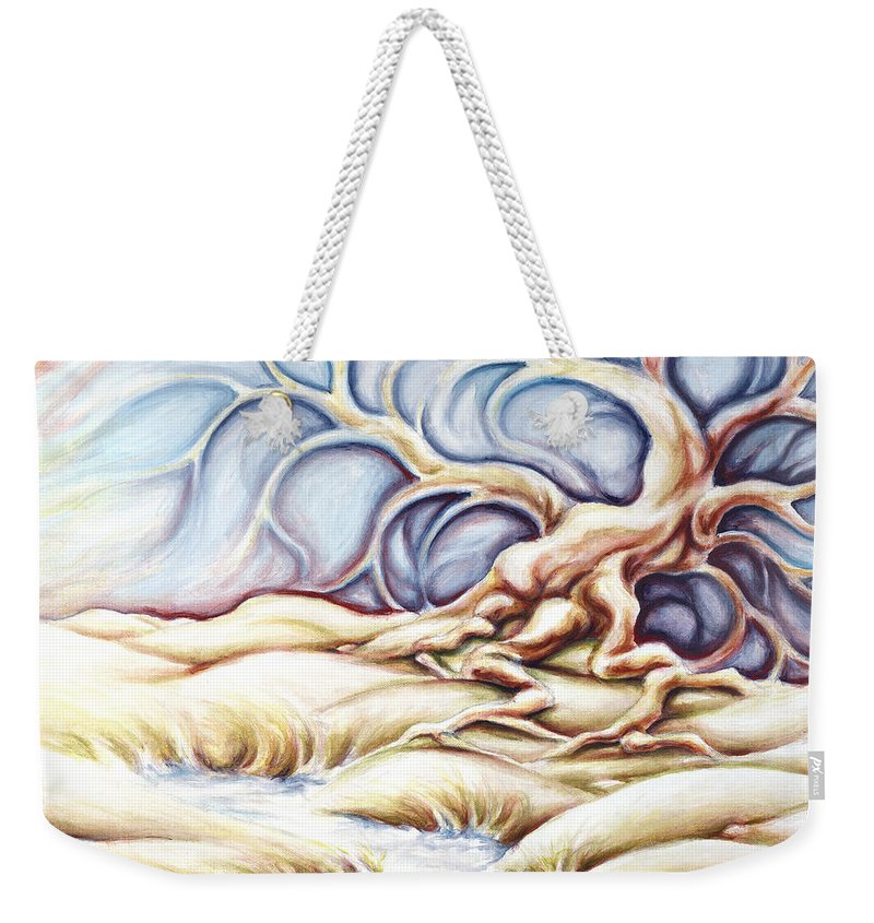 Acrylic Painting Weekender Tote Bag featuring the painting Blonde and Blue by Jennifer McDuffie