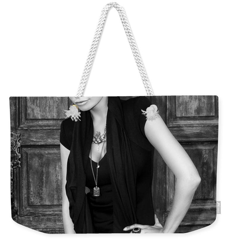 Blonde Weekender Tote Bag featuring the photograph Blonde Attitude Bw Palm Springs by William Dey