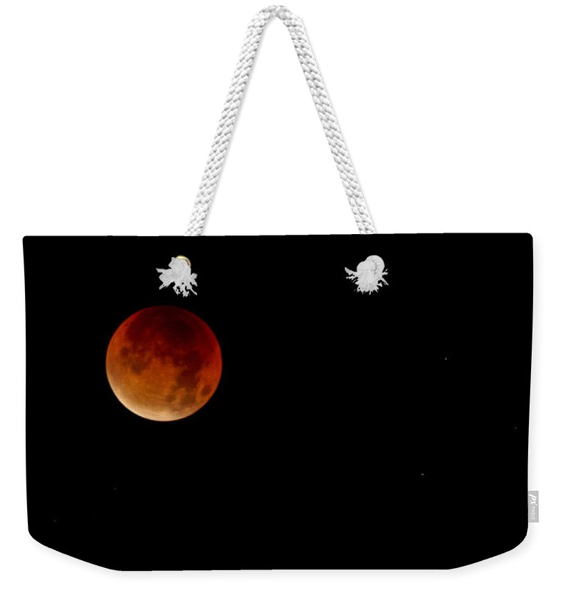 Blood Moon 2015 Weekender Tote Bag featuring the photograph Blood Moon 2015 by Dr Charles Ott