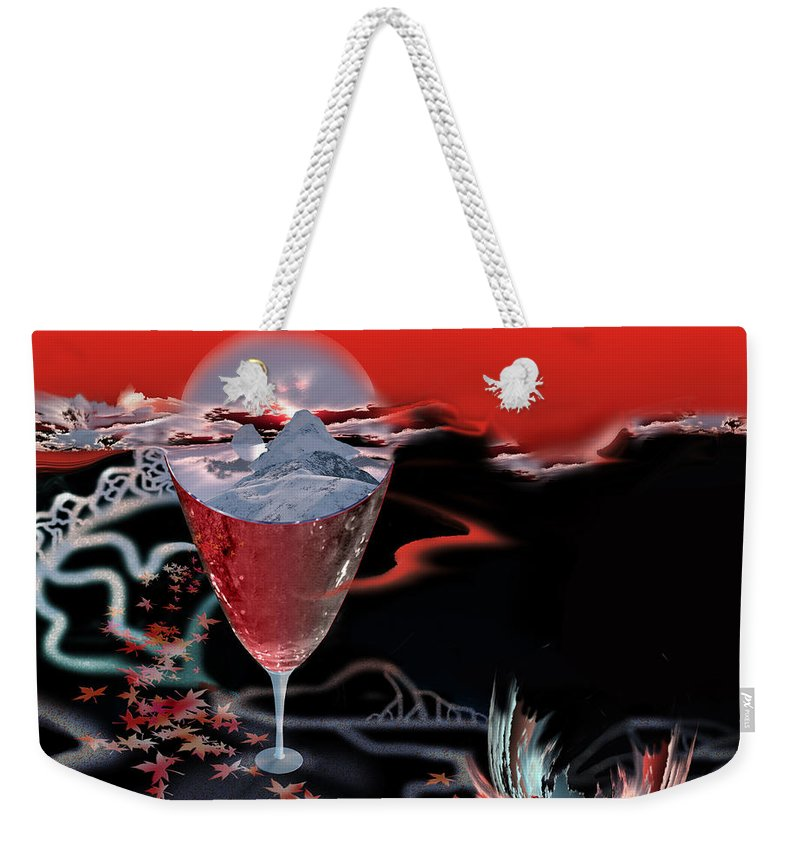 Blood Weekender Tote Bag featuring the digital art Blood Red From Pure White by Jennifer Kathleen Phillips