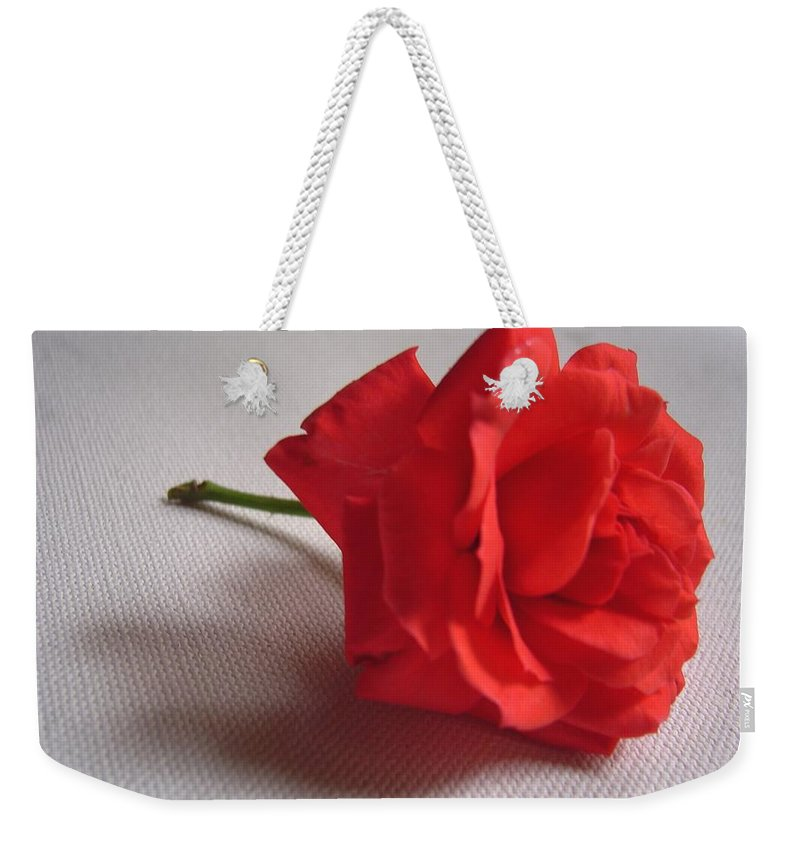 Blood Weekender Tote Bag featuring the photograph Blood Red Rose by Usha Shantharam