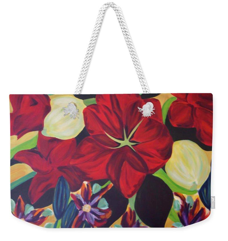 #flower Weekender Tote Bag featuring the painting Bloom by Jacquelinemari