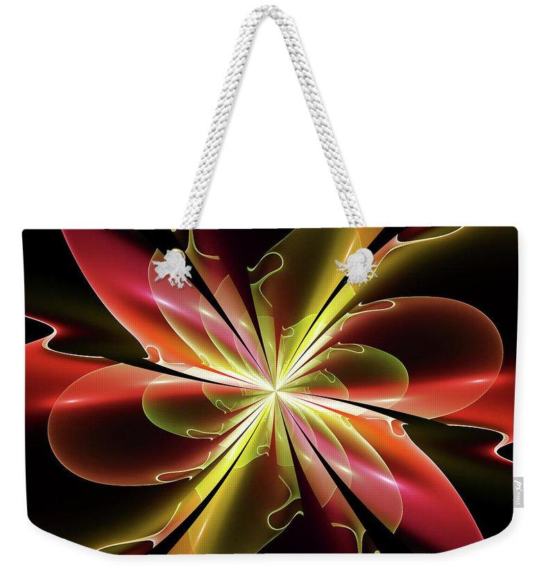 Fractal Weekender Tote Bag featuring the digital art Bloom With Red by Deborah Benoit