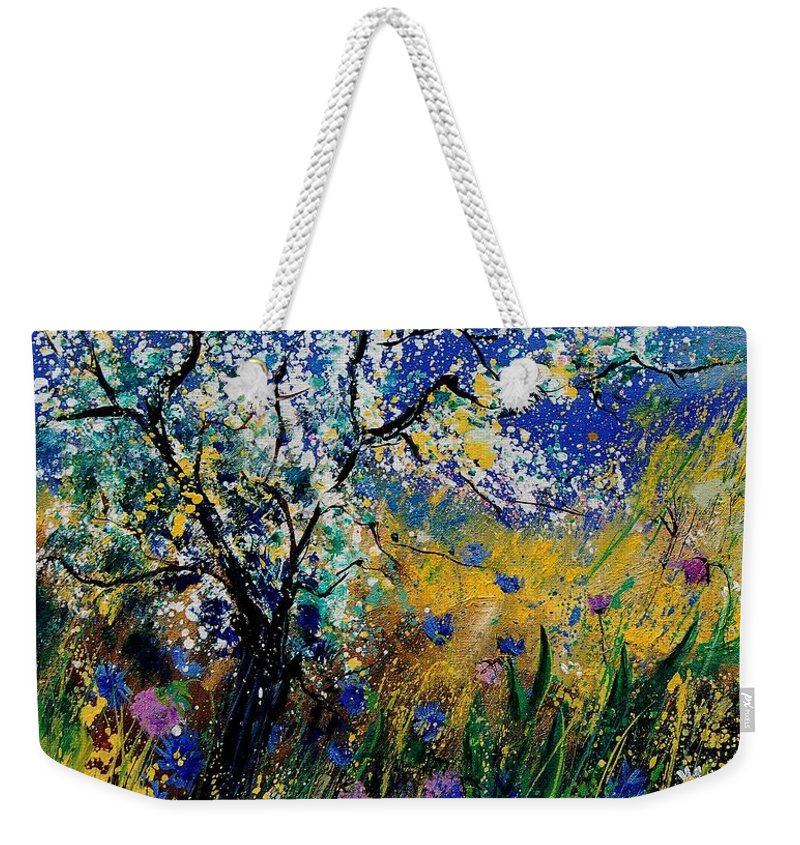 Spring Weekender Tote Bag featuring the painting Blooming Appletree by Pol Ledent