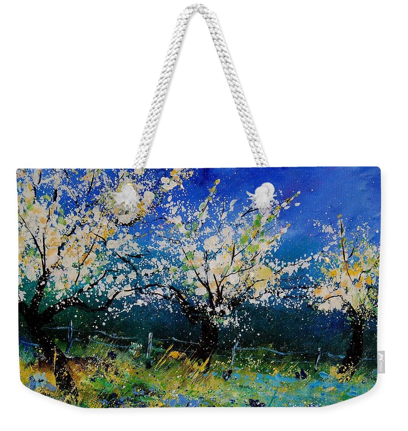 Landscape Weekender Tote Bag featuring the painting Blooming Appletrees 56 by Pol Ledent