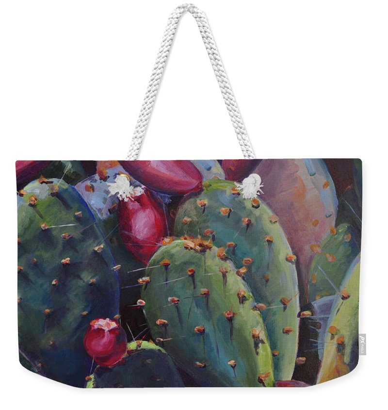 Cactus Weekender Tote Bag featuring the painting Blooming Cacti by Marjory Wilson