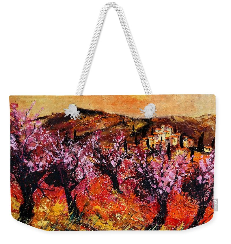 Provence Cherrytree Summer Spring Weekender Tote Bag featuring the painting Blooming Cherry Trees by Pol Ledent