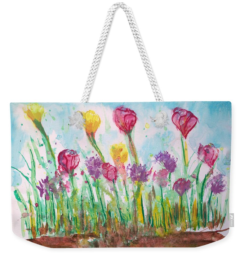 Flowers Weekender Tote Bag featuring the painting Blooming Colors by J R Seymour