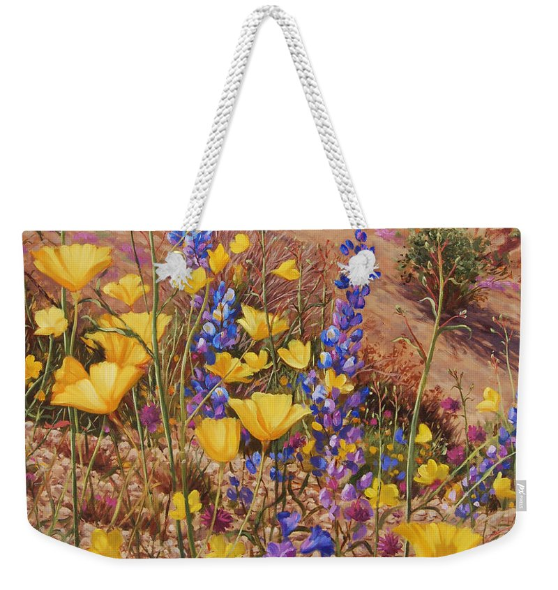 Desert Weekender Tote Bag featuring the painting Blooming Desert by Johanna Girard