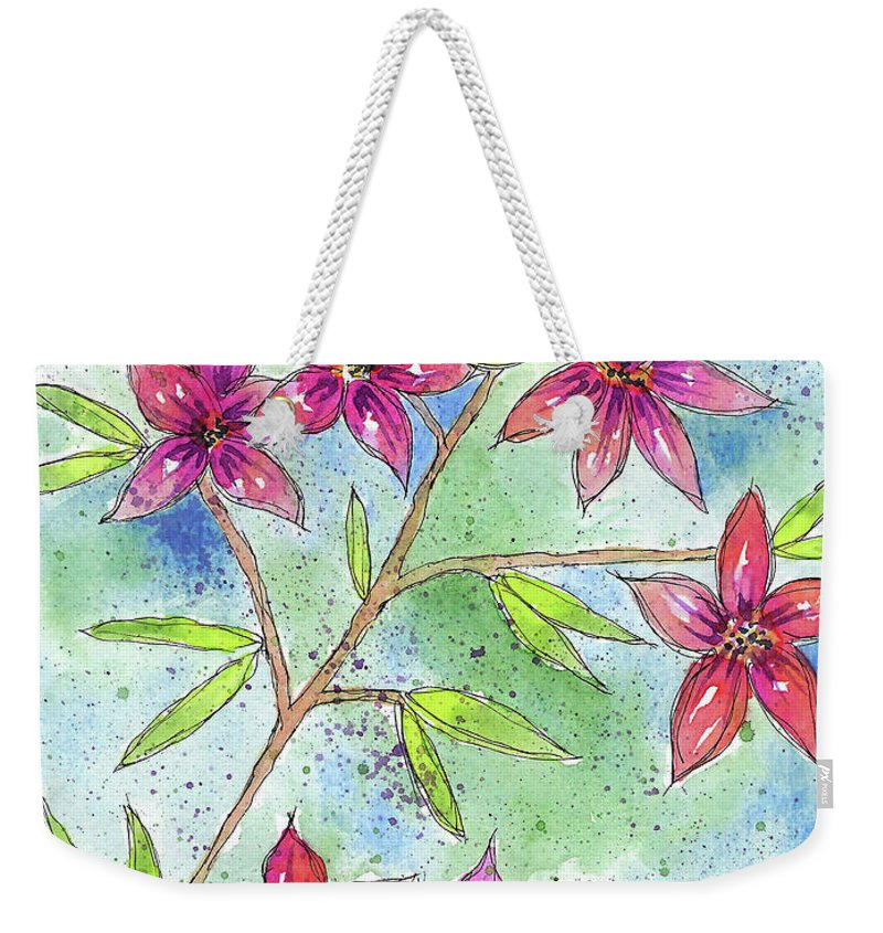 Watercolor And Ink Weekender Tote Bag featuring the painting Blooming Flowers by Susan Campbell