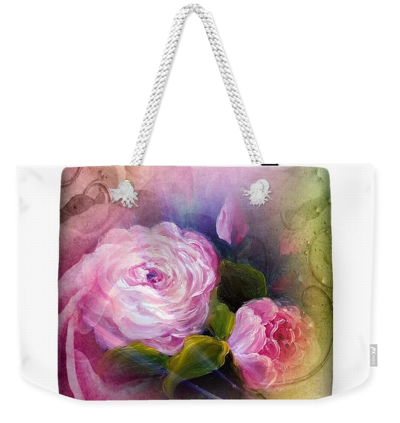 Tote Bag Weekender Tote Bag featuring the painting Blooming Bag by Vesna Martinjak