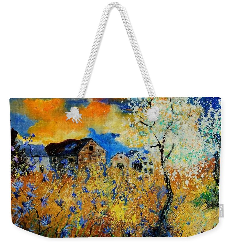 Poppies Weekender Tote Bag featuring the painting Blooming Trees by Pol Ledent