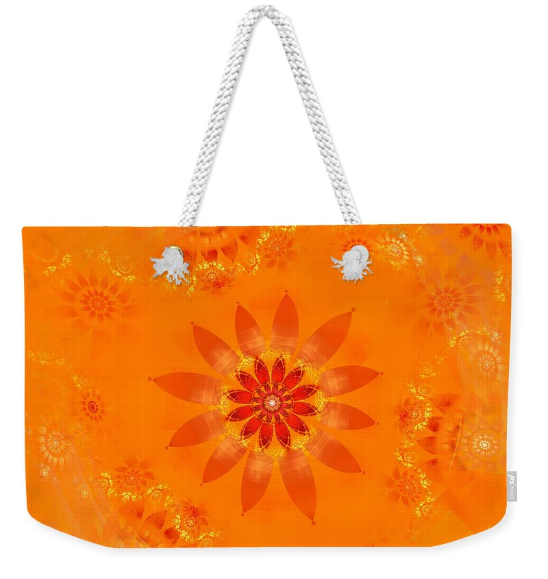 Fractal Weekender Tote Bag featuring the digital art Blossom In Orange by Richard Ortolano