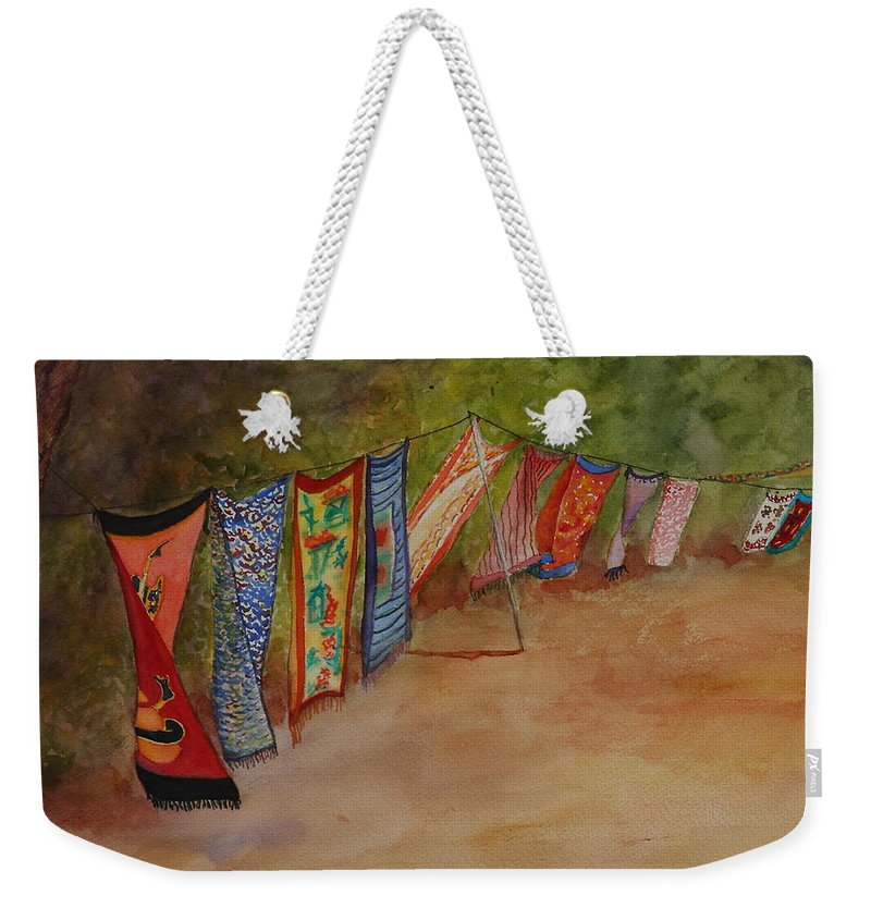 Sari Weekender Tote Bag featuring the painting Blowin' In The Wind by Ruth Kamenev