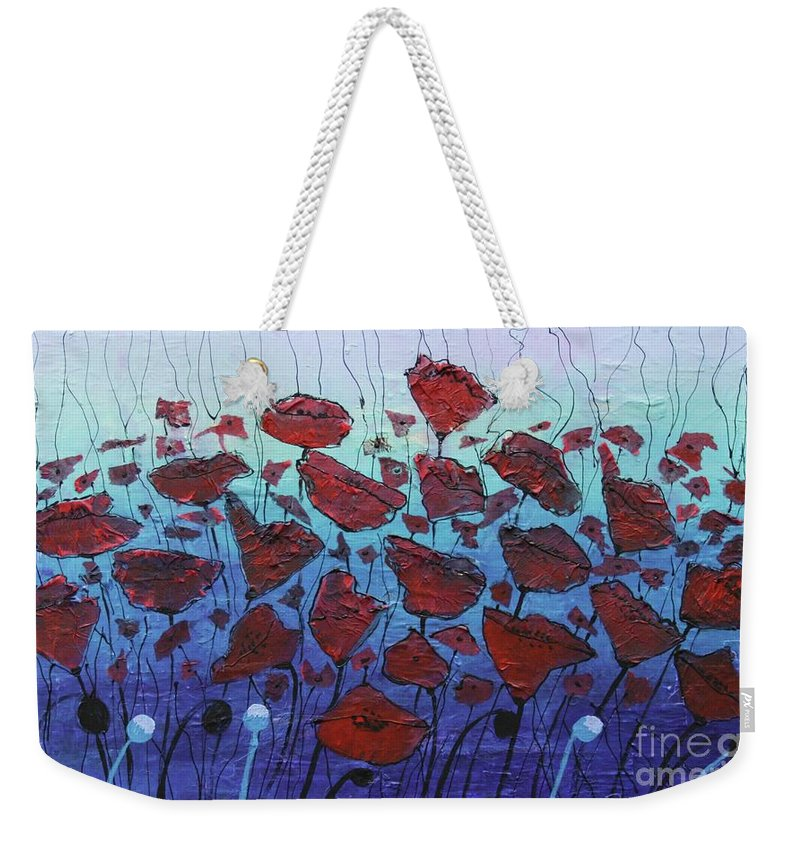 Abstract Weekender Tote Bag featuring the painting Blowin' In The Wind by Karla Britfeld