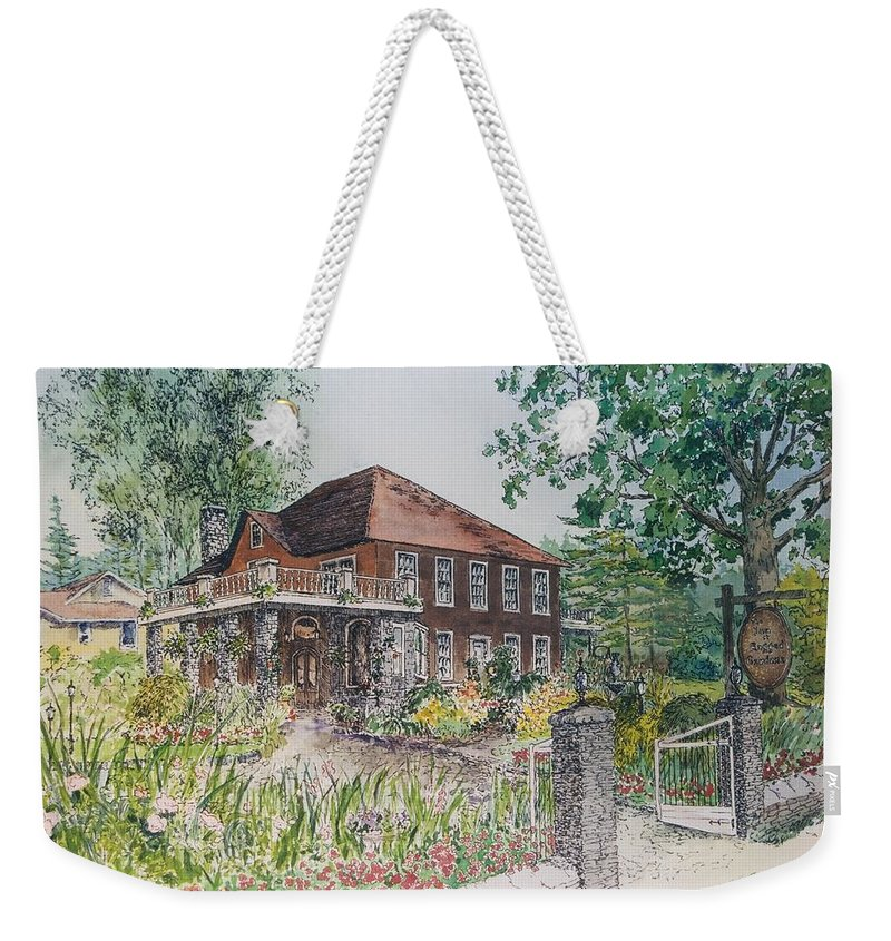 Print Of Blowing Rock Building Weekender Tote Bag featuring the painting Blowing Rock Inn by Maggie Clark