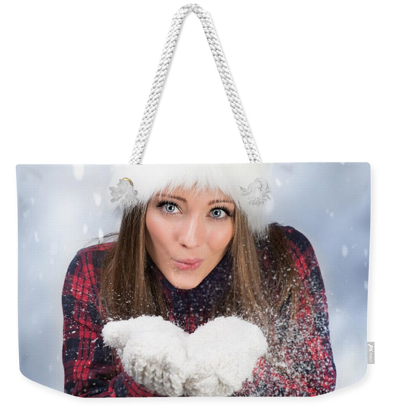 Young Weekender Tote Bag featuring the photograph Blowing Snow In Winter by Amanda Elwell