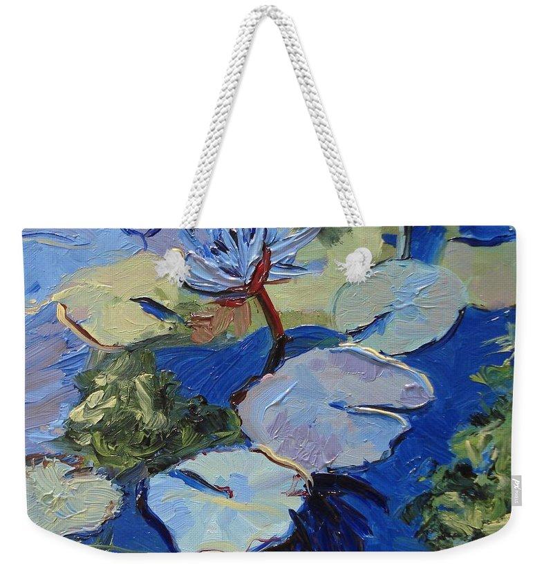 Lilies Weekender Tote Bag featuring the painting Blu I by Barbara Andolsek