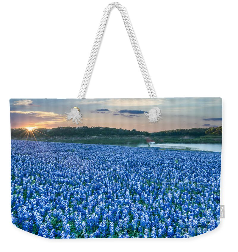Bluebonnet Weekender Tote Bag featuring the photograph Blubonnet Sunrise by Tod and Cynthia Grubbs