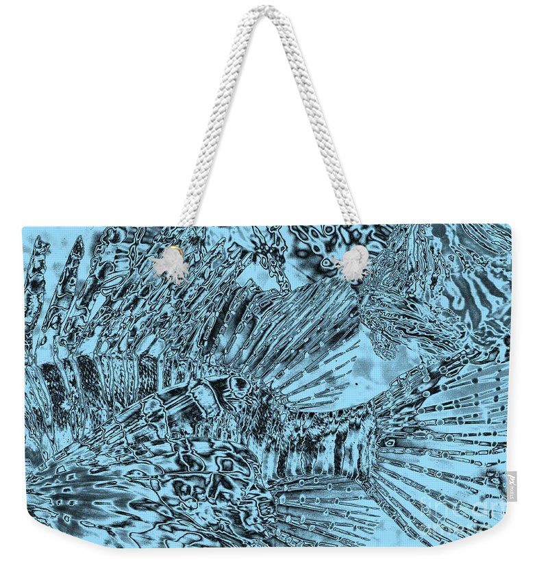 Abstract Art Weekender Tote Bag featuring the photograph Blue Abstract - Lionfish by Carol Groenen