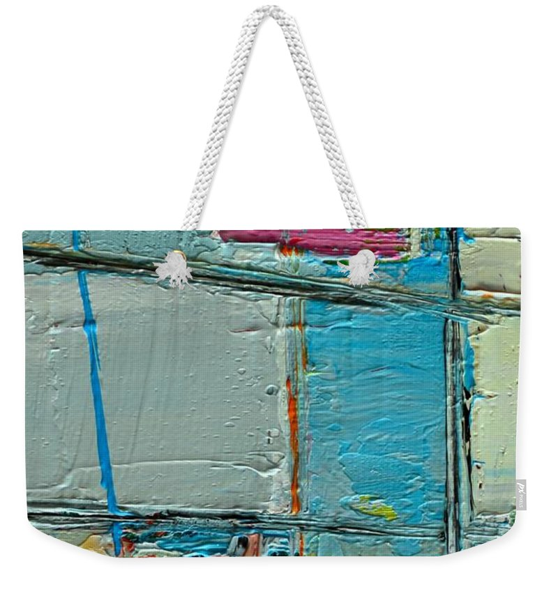 Abstract Weekender Tote Bag featuring the painting Blue Abstract by Ana Maria Edulescu