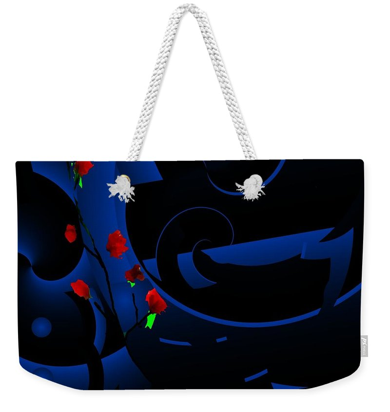 Abstract Weekender Tote Bag featuring the digital art Blue Abstract by David Lane