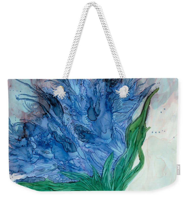 Ink 11 X 14 On Yupo Paper Weekender Tote Bag featuring the painting Blue Abstract by Debora Boudreau