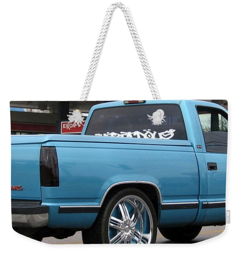 Truck Weekender Tote Bag featuring the photograph Blue by Amy Hosp