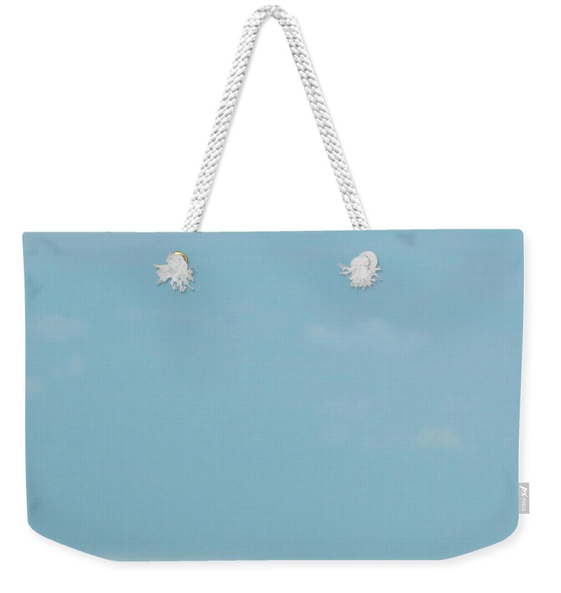 Weekender Tote Bag featuring the photograph Blue And Beige by Iris Posner