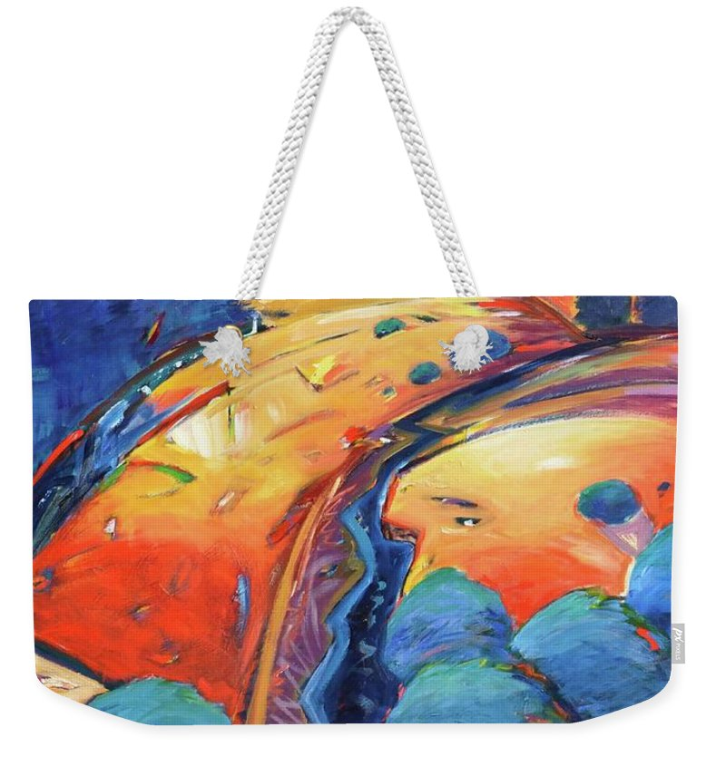 Hills Weekender Tote Bag featuring the painting Blue and Gold by Gary Coleman