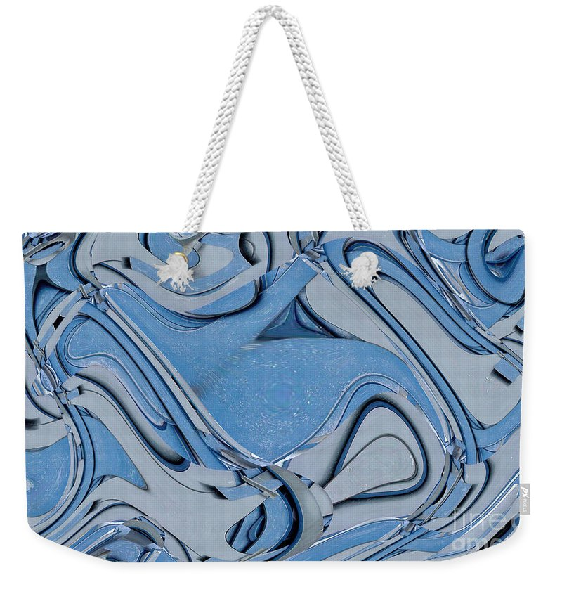 Digital Art Weekender Tote Bag featuring the digital art Blue And Gray by Ron Bissett