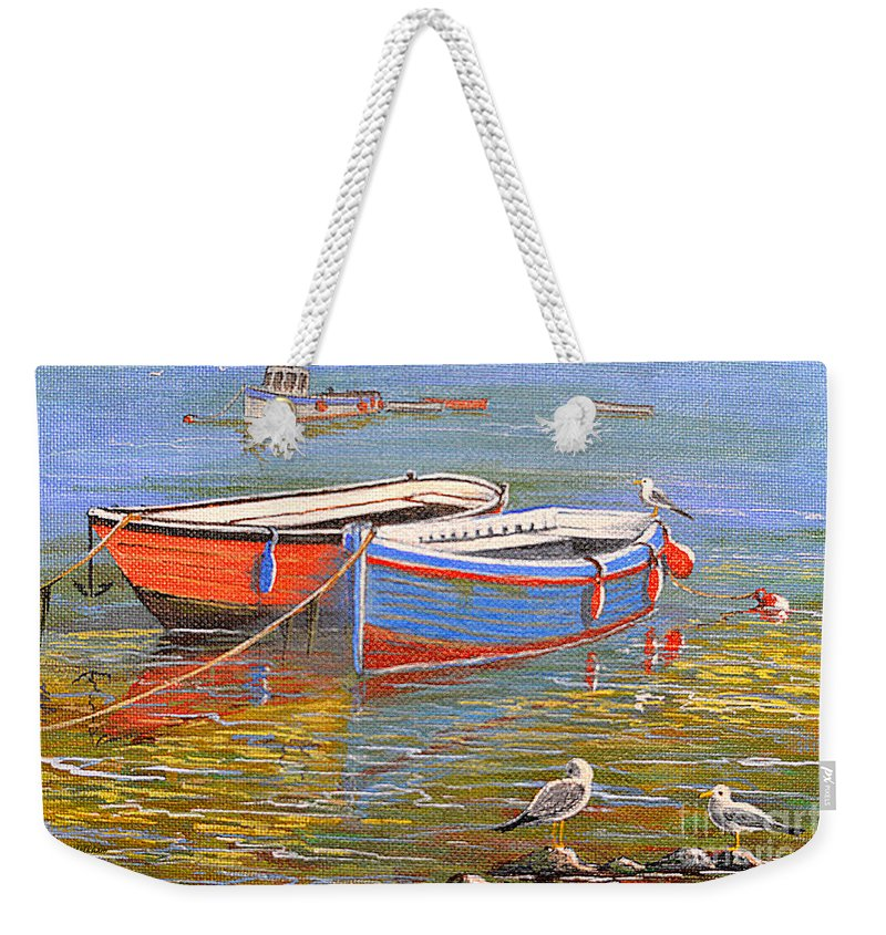 Blue Weekender Tote Bag featuring the painting Blue And Orange by Bill Holkham