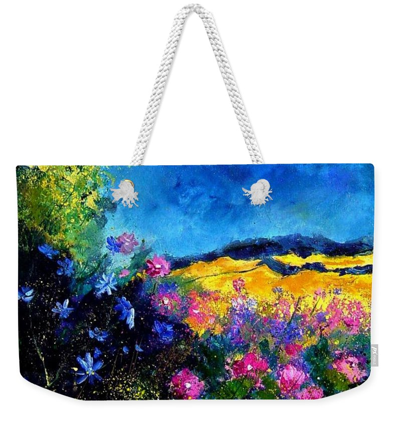 Landscape Weekender Tote Bag featuring the painting Blue and pink flowers by Pol Ledent