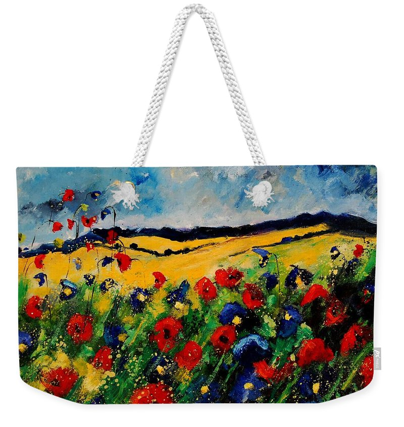 Poppies Weekender Tote Bag featuring the painting Blue And Red Poppies 45 by Pol Ledent