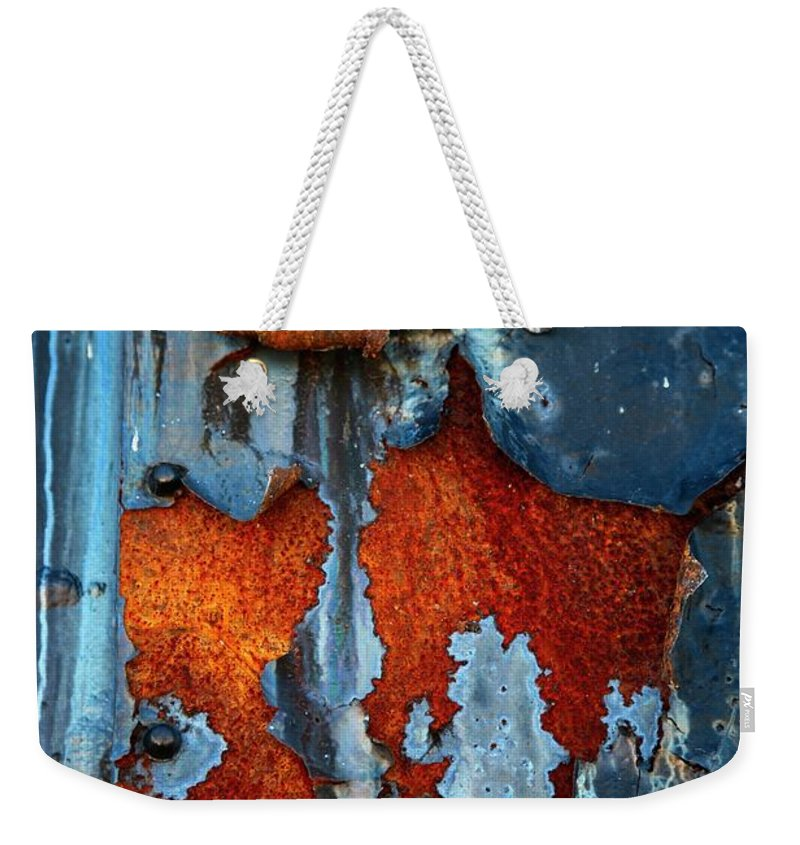 Rusty Pieces Weekender Tote Bag featuring the photograph Blue And Rust by Karol Livote