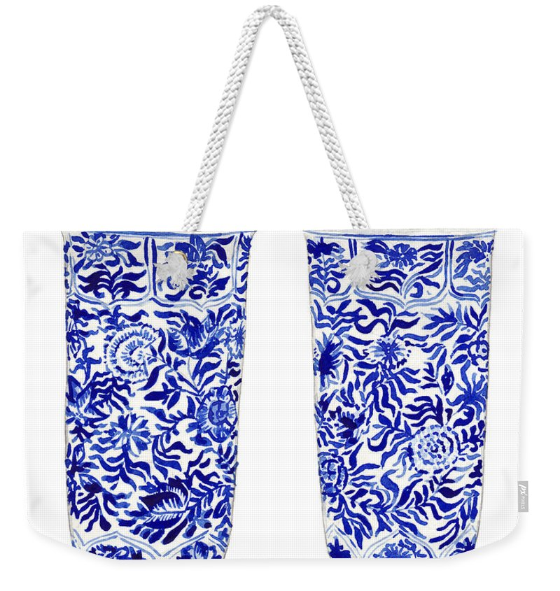 Blue And White Weekender Tote Bag featuring the painting Blue And White Chinoiserie Vases by Laura Row