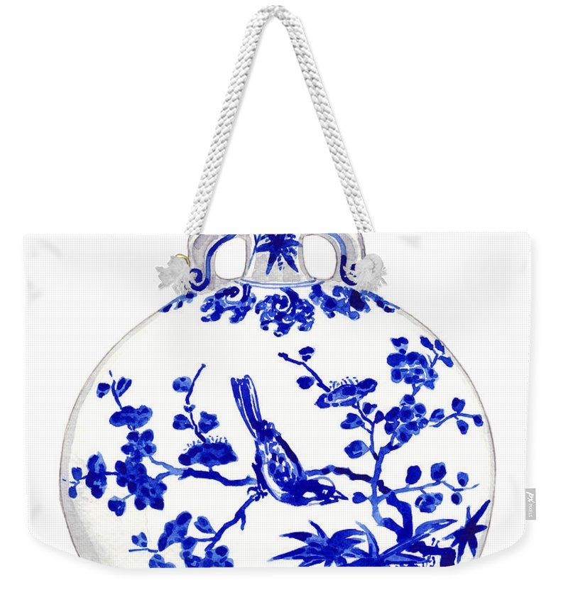 Blue And White China Weekender Tote Bag featuring the painting Blue And White Ginger Jar Chinoiserie 6 by Laura Row
