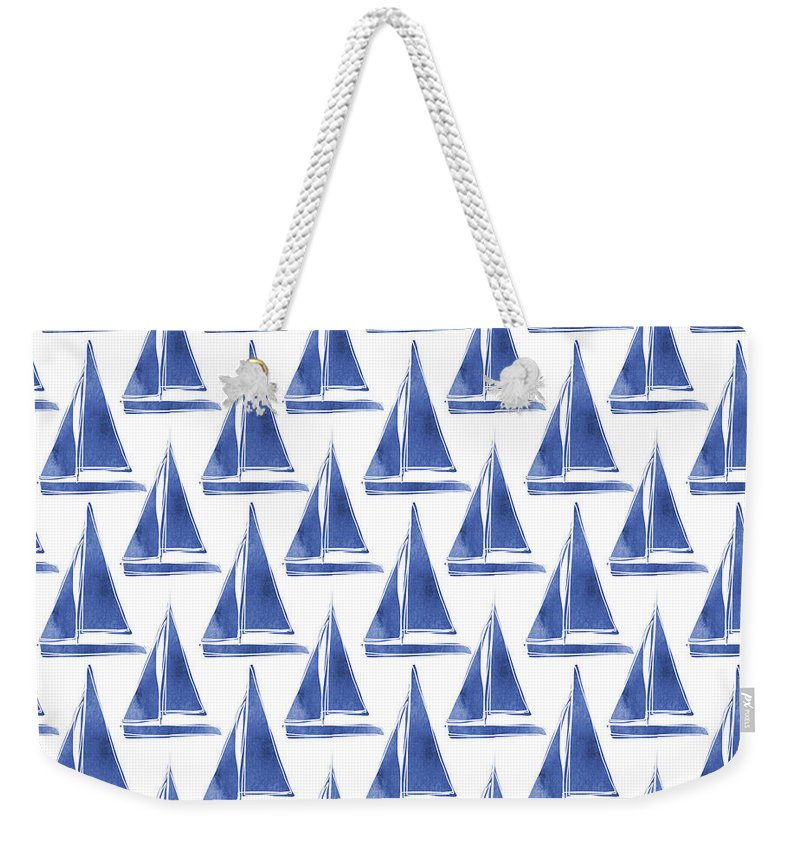 Boats Weekender Tote Bag featuring the digital art Blue And White Sailboats Pattern- Art By Linda Woods by Linda Woods
