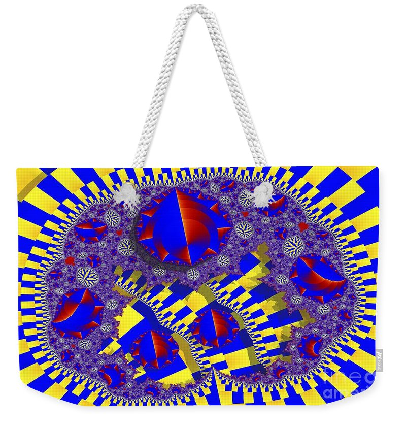 Fractal Weekender Tote Bag featuring the digital art Blue And Yellow Bits 2 by Ron Bissett