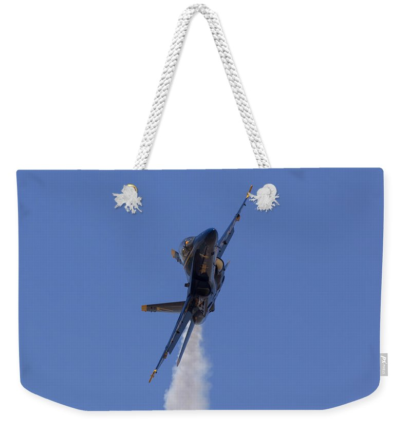 Blue Angels Weekender Tote Bag featuring the photograph Blue Angel 7 Closeup by John Daly