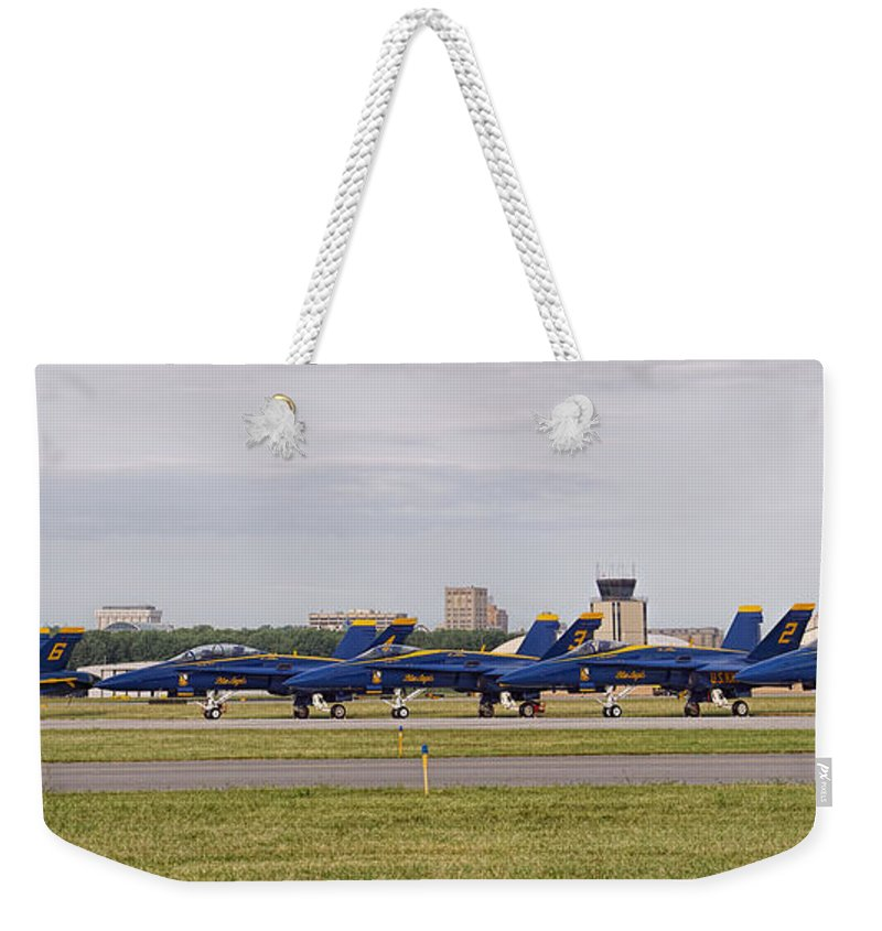 Blue Angels Weekender Tote Bag featuring the photograph Blue Angels Flight Line by Alan Hutchins
