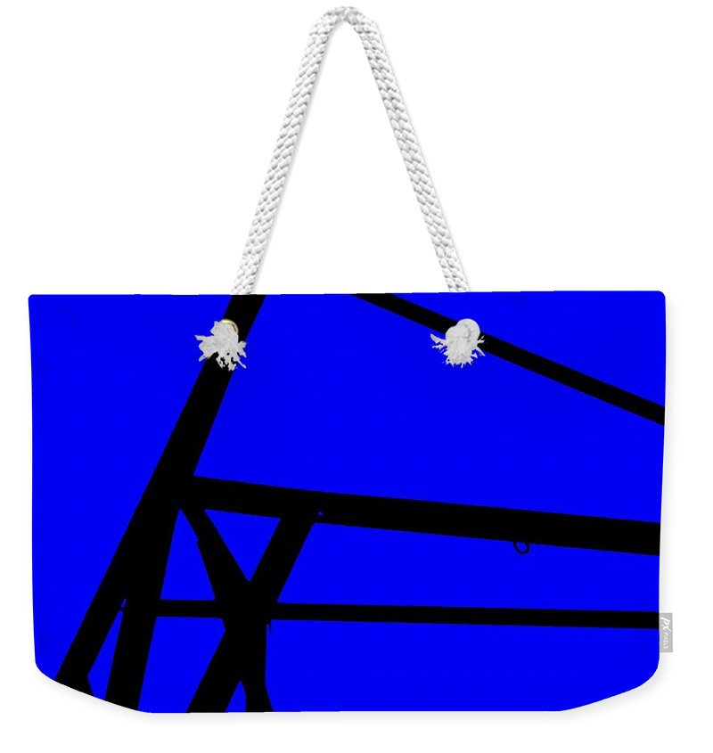 Blue Abstract Weekender Tote Bag featuring the painting Blue Angle Abstract by Eric Schiabor