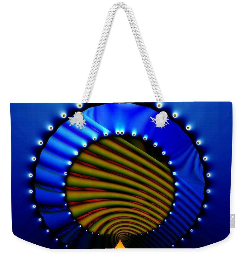 Bale Ringe Weekender Tote Bag featuring the digital art Blue Bale Ringe by Ron Bissett