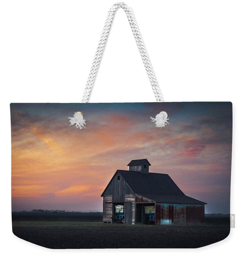 Landscape Weekender Tote Bag featuring the photograph Blue Barn by David Jilek