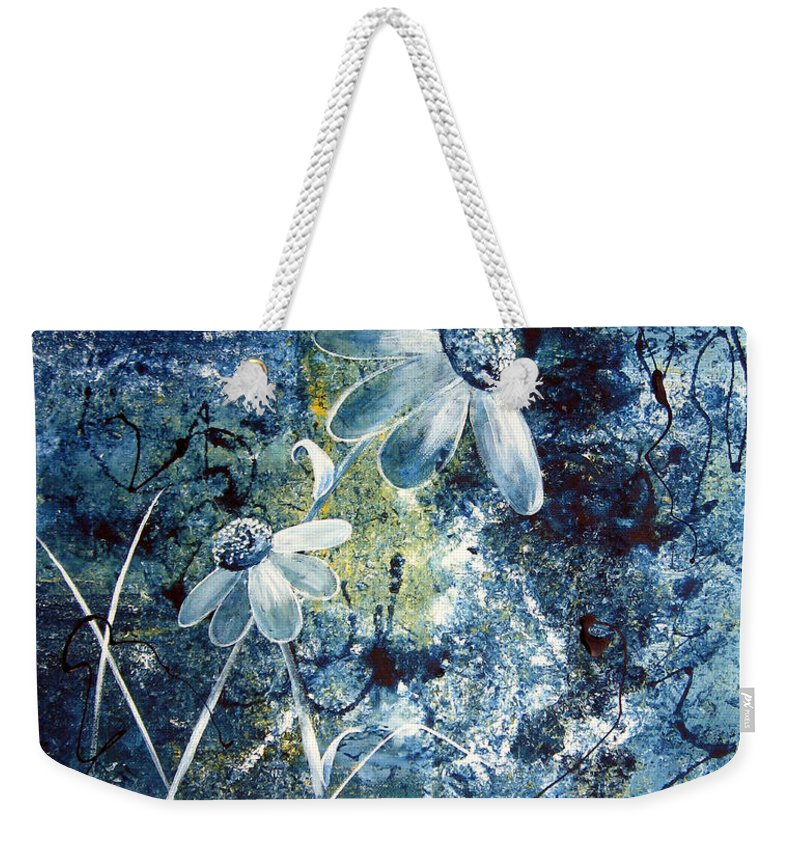 Abstract Weekender Tote Bag featuring the painting Blue Beauties by Ruth Palmer
