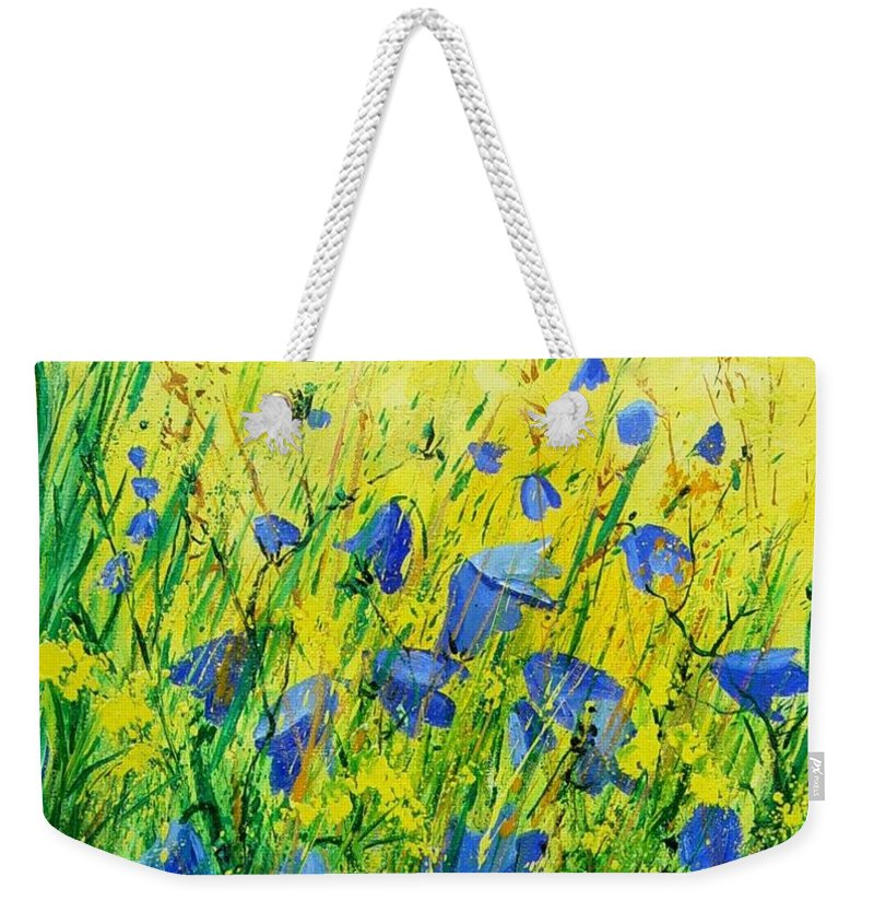 Poppies Weekender Tote Bag featuring the painting Blue bells by Pol Ledent