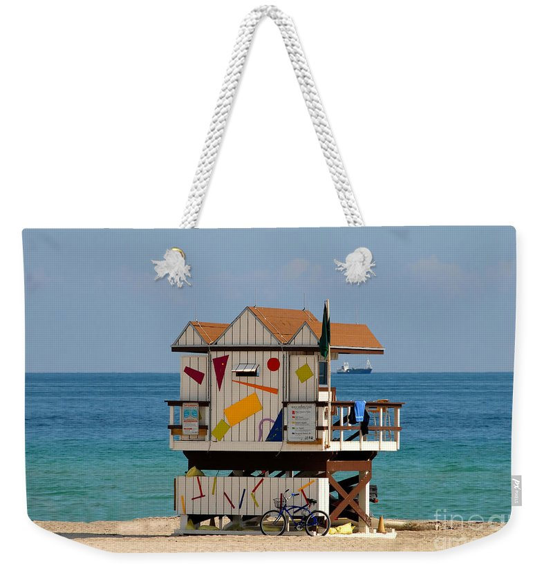 Miami Beach Weekender Tote Bag featuring the photograph Blue Bicycle by David Lee Thompson
